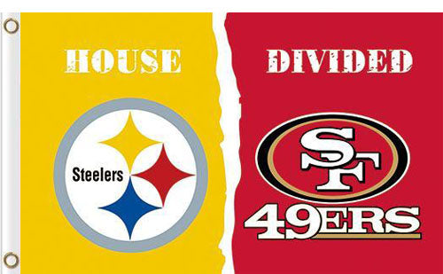 Pittsburgh Steelers vs San Francisco 49ers Divided Flag
