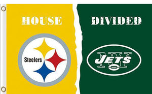 Pittsburgh Steelers vs New York Jets Divided Flag