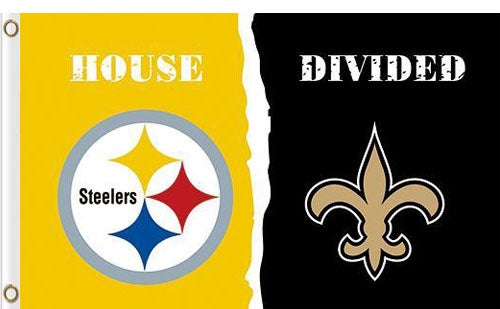 Pittsburgh Steelers vs New Orleans Saints Divided Flag