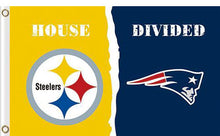Load image into Gallery viewer, Pittsburgh Steelers vs New England Patriots Divided Flag