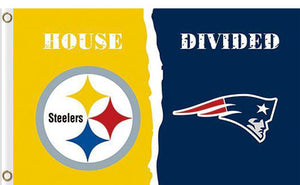 Pittsburgh Steelers vs New England Patriots Divided Flag
