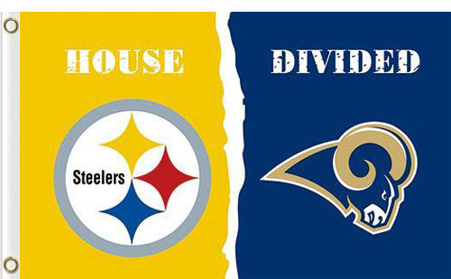 Pittsburgh Steelers vs Los Angeles Rams Divided Flag