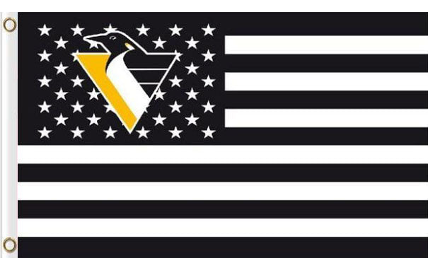 Pittsburgh Penguins USA flags with star and stripe 3x5 ft