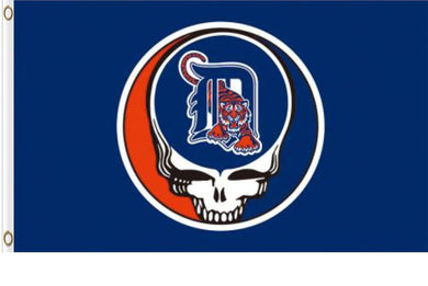 Detroit Tigers Dead Skull Banner flags 3ftx5ft
