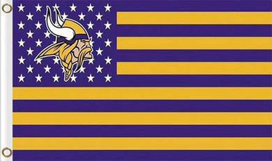 Minnesota Vikings Flag with Star and Stripes 3x5FT