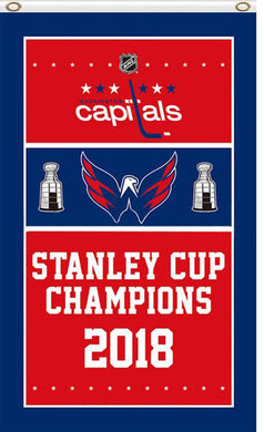 3X5FT Washington Capitals 2018 Stanley Cup Champions column Flag