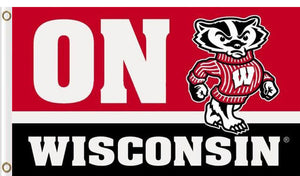 Wisconsin Badgers ON WISCONSIN flag 3x5FT
