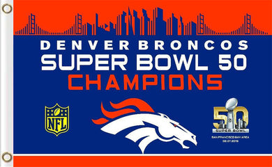 Denver Broncos Super Bowl 50 Champion Flag 3ftx5ft