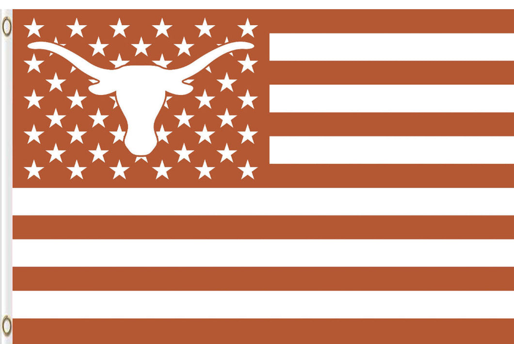 Texas Longhorns Stars And Stripes Banner Flag 3x5FT