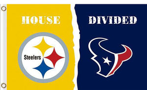 Pittsburgh Steelers vs Houston Texans Divided Flag