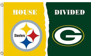 Pittsburgh Steelers vs Green Bay Packers Divided Flag