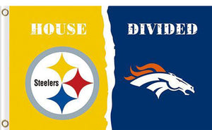 Pittsburgh Steelers vs Denver Broncos Divided Flag