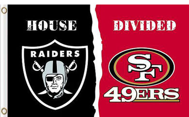 Oakland Raiders vs San Francisco 49ers Divided Flag