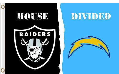Oakland Raiders vs San Diego Chargers Divided Flag