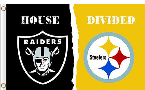 Oakland Raiders vs Pittsburgh Steelers Divided Flag