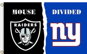 Oakland Raiders vs New York Giants Divided Flag