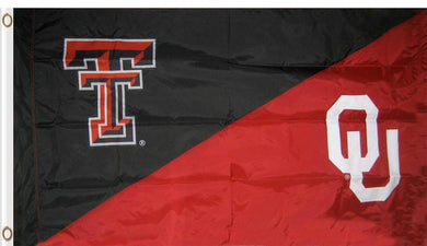 Texas Tech & Oklahoma Divided Flag 3ftx5ft