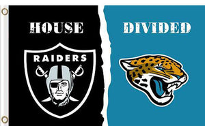 Oakland Raiders vs Jacksonville Jaguars Divided Flag