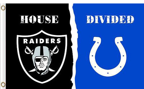 Oakland Raiders vs Indianapolis Colts Divided Flag