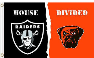 Oakland Raiders vs Cleveland Browns Divided Flag