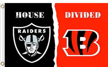 Load image into Gallery viewer, Oakland Raiders vs Cincinnati Bengals Divided Flag