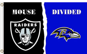Oakland Raiders vs Baltimore Ravens Divided Flag