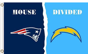 New England Patriots vs San Diego Chargers Divided Flag