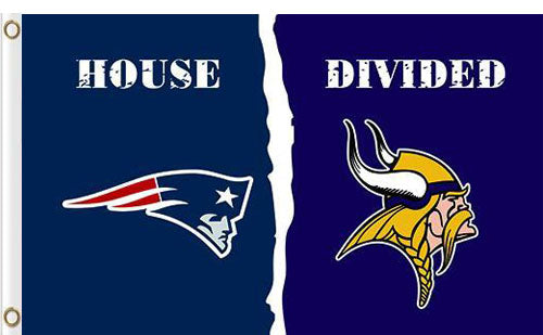 New England Patriots vs Minnesota Vikings Divided Flag