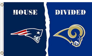 New England Patriots vs Los Angeles Rams Divided Flag