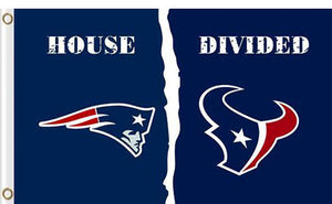 New England Patriots vs Houston Texans Divided Flag