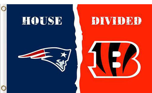 New England Patriots vs Cincinnati Bengals Divided Flag