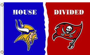 Minnesota Vikings vs Tampa Bay Buccaneers Divided Flag