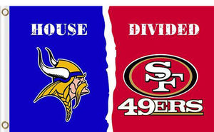 Minnesota Vikings vs San Francisco 49ers Divided Flag