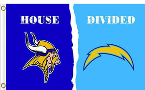 Minnesota Vikings vs San Diego Chargers Divided Flag