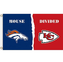 Load image into Gallery viewer, Denver Broncos vs Kansas City Chiefs House divided flag 3ftx5ft