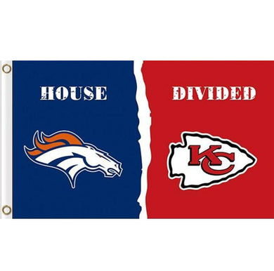 Denver Broncos vs Kansas City Chiefs House divided flag 3ftx5ft