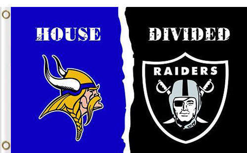 Minnesota Vikings vs Oakland Raiders Divided Flag