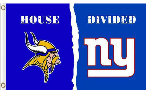Minnesota Vikings vs New York Giants Divided Flag