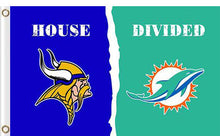 Load image into Gallery viewer, Minnesota Vikings vs Miami Dolphins Divided Flag