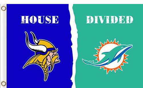 Minnesota Vikings vs Miami Dolphins Divided Flag