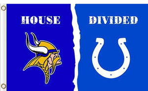 Minnesota Vikings vs Indianapolis Colts Divided Flag