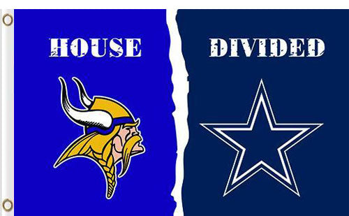 Minnesota Vikings vs Dallas Cowboys Divided Flag