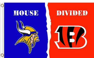 Minnesota Vikings vs Cincinnati Bengals Divided Flag