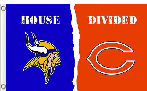 Minnesota Vikings vs Chicago Bears 2 Divided Flag
