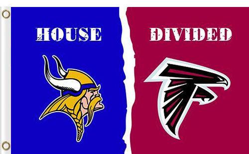 Minnesota Vikings vs Atlanta Falcons Divided Flag