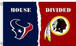 Houston Texans vs Washington Redskins Divided Flag