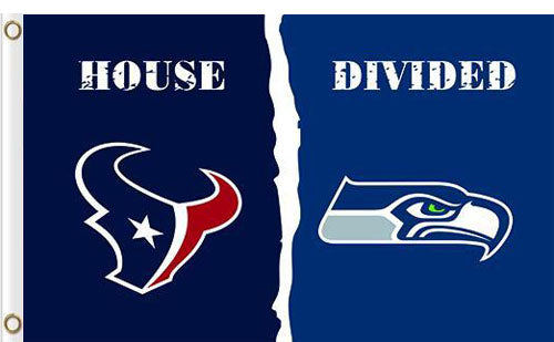Houston Texans vs Seattle Seahawks Divided Flag