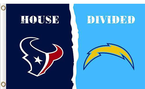Houston Texans vs San Diego Chargers Divided Flag