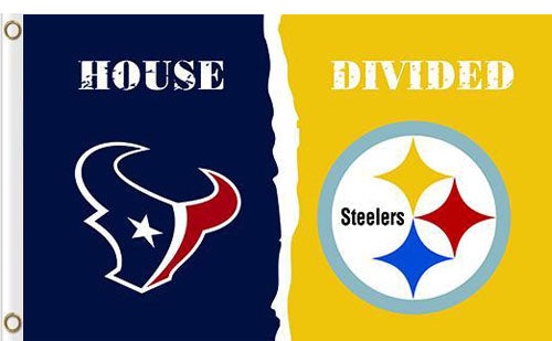Houston Texans vs Pittsburgh Steelers Divided Flag