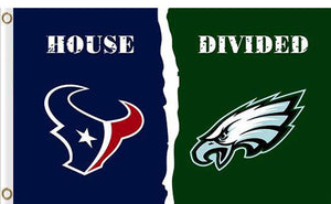Houston Texans vs Philadelphia Eagles Divided Flag